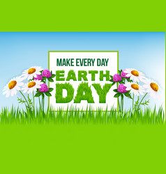 earth day poster with green grass and flowers vector image vector image