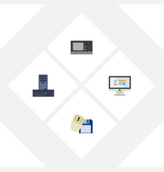 Flat icon laptop set of vintage hardware computer vector