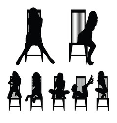 Girl silhouette set on chair in various poses vector
