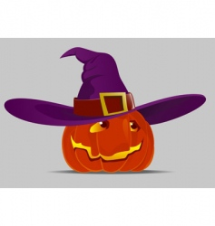 halloween pumpkin and witch hat vector image vector image