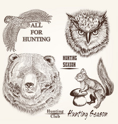 Hand drawn animals in engraved style vector