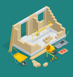 Isometric construction of a brick house house vector