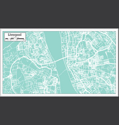 Liverpool england city map in retro style outline vector
