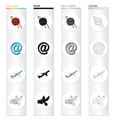 Mail stamp logo and other web icon in cartoon vector