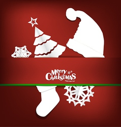 Merry Christmas greeting card with xmas decoration vector image vector image