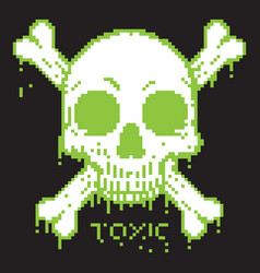 pixelated skull and crossbones on black background vector image