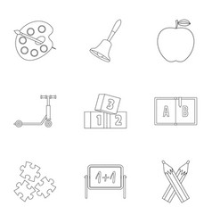 Primary school icons set outline style vector