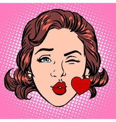 Retro Emoji love kiss heart woman face vector image