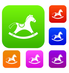 rocking horse set color collection vector image
