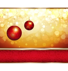 Romantic golden christmas design with red baubles vector