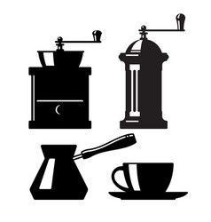Set of icons of coffee accessories vector