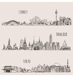Sydney bangkok tokyo hand drawn vector