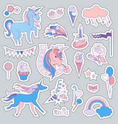 Unicorn multicolor stickers with unicorns vector