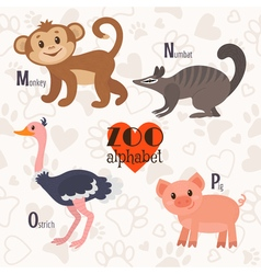 Zoo alphabet with funny animals m n o p letters vector
