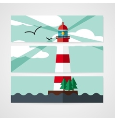 Cards with red beacon on island vector image