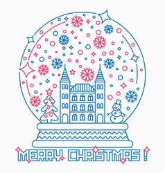 Christmas snow globe thin line style vector