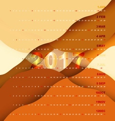 2017 calendar on orange abstract background vector