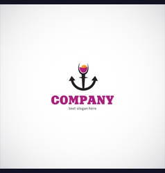 wine sea company logo vector image