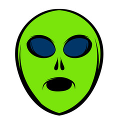 alien green head icon icon cartoon vector image