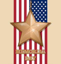 Inscription - memorial day and golden star vector