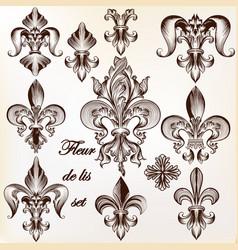 Set of heraldic fleur de lis for design vector