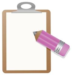 Clipboard with pencil vector image