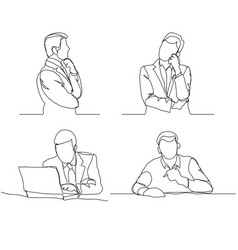 Businessman thinking linear design continuous vector