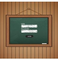 Realistic blackboard Web login form template vector image