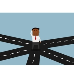 Businessman standing and thinking on crossroad vector