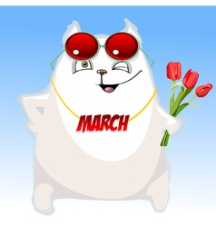 Fun cartoon white cat congratulates on march 8 vector