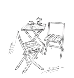 Furniture in summer cafe chair and table sketch vector