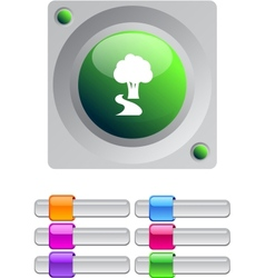 Tree color round button vector
