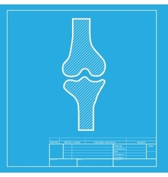 Knee joint sign white section of icon on vector