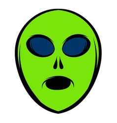 Alien green head icon icon cartoon vector