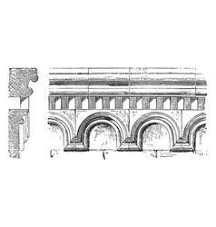 Arcaded cornice polygonal end of a chancel or vector