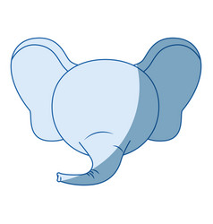 Blue color shading faceless of elephant animal vector