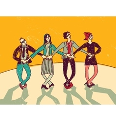 Business team dance presentation color vector