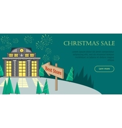 Christmas sale flat style web banner vector