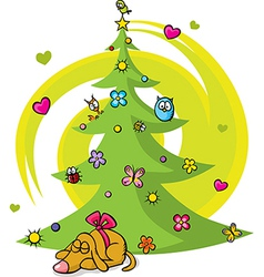 Christmas tree with dog bird flower star and vector