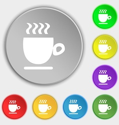 Coffee cup sign Symbol on eight flat buttons vector image
