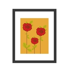 Colorful picture frame with roses vector