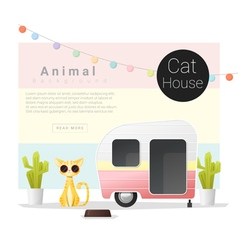 Cute animal collection cat house 3 vector