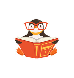 Cute toon penguin in glasses reading a book vector