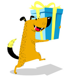 dog with gift cute pet vector image