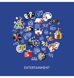 Entertainment Round Composition vector image vector image