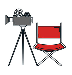 film video camera with director chair vector image