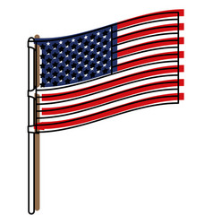 Flag united states of america in flagpole to side vector