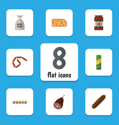 Flat icon food set of ketchup meat bratwurst and vector