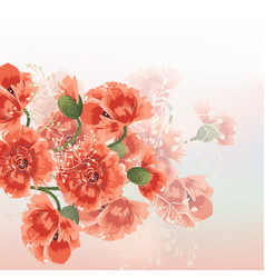 floral background with red poppy flowers vector image