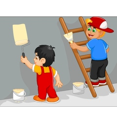 Funny two little boy cartoon painting the wall vector